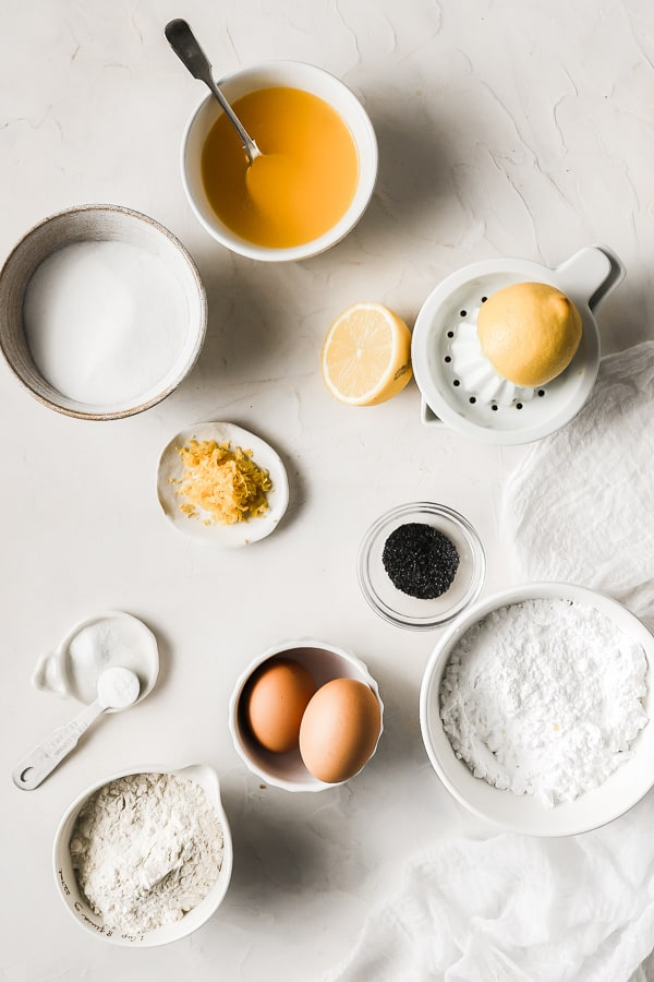 Ingredients needed for Lemon Poppy Seed Madeleines