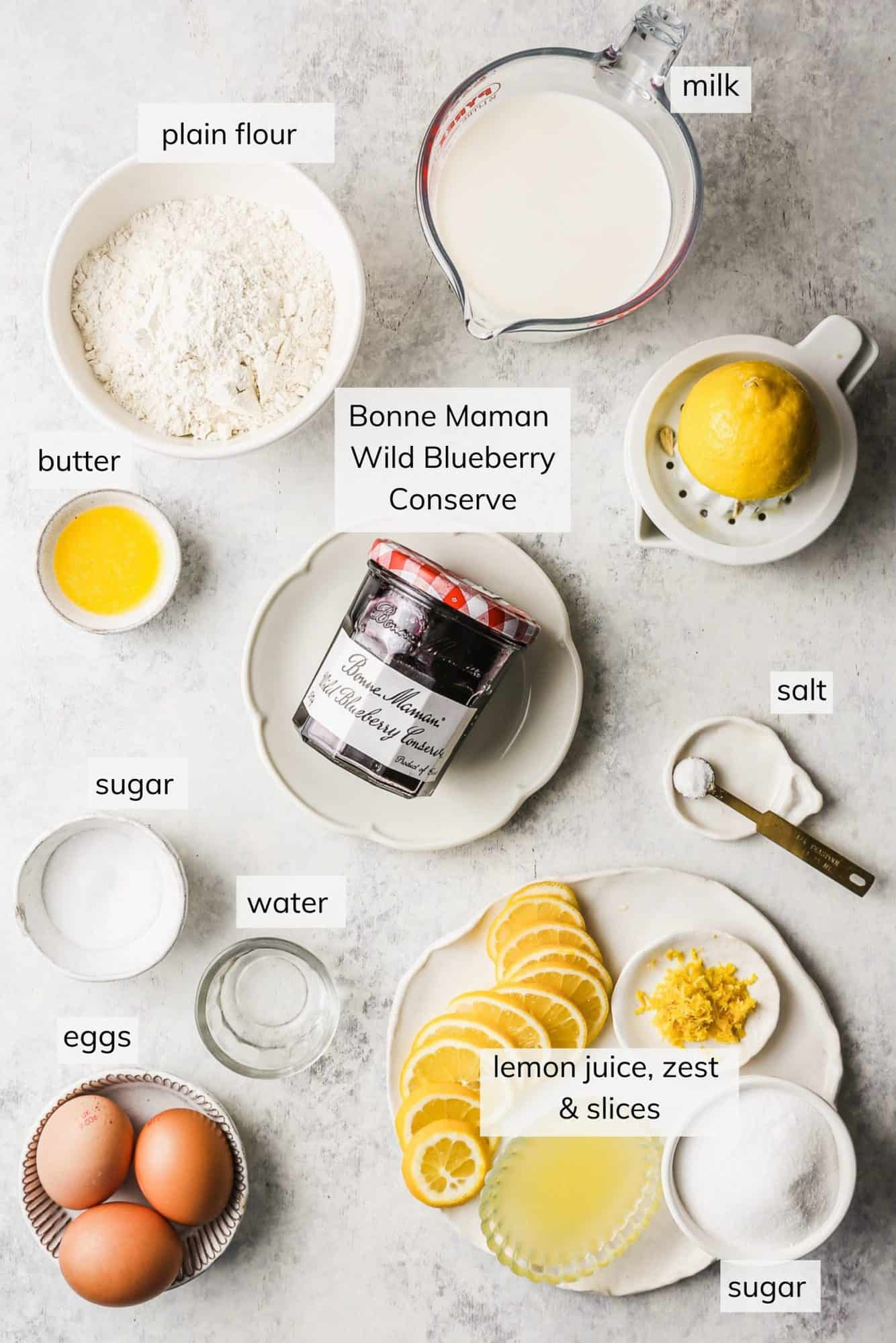 Ingredients required to make French Lemon Crepes