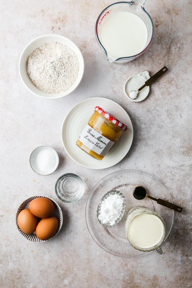 Ingredients to make simple healthy whole wheat crepes