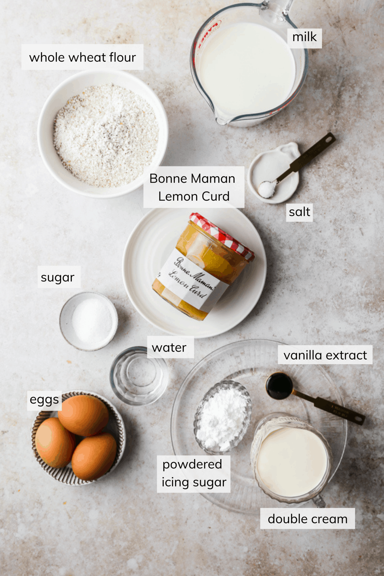 Ingredients for whole wheat crepes