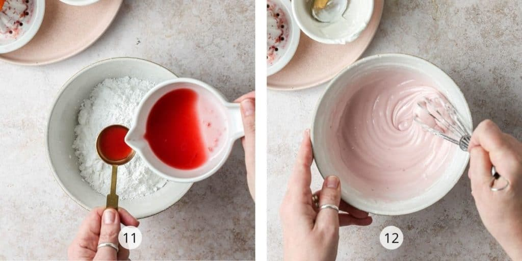 Two images showing how blood orange glaze is made. Add the blood orange juice to the icing sugar and then whisk together