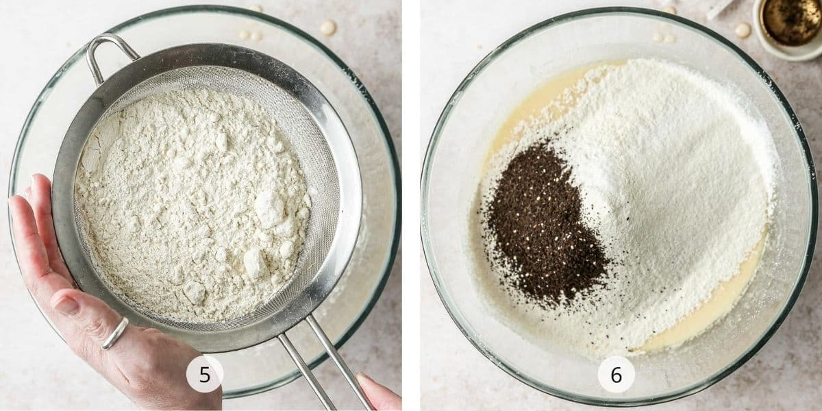 Sifting dry ingredients into earl grey pound cake