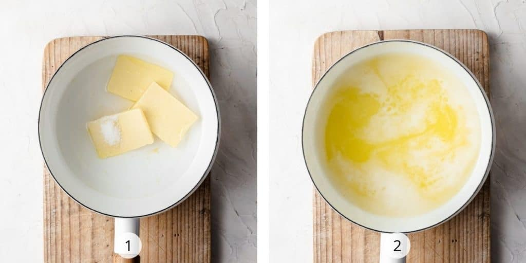 Process image of making choux pastry - butter and water in saucepan , brought to the boil
