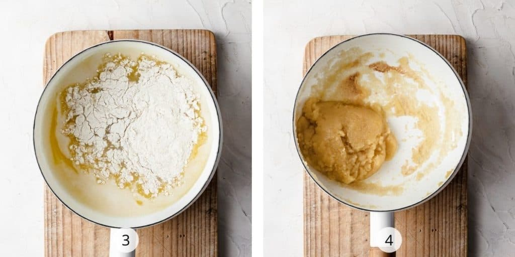 Process image of making choux dough. Flour added into saucepan and mixed together