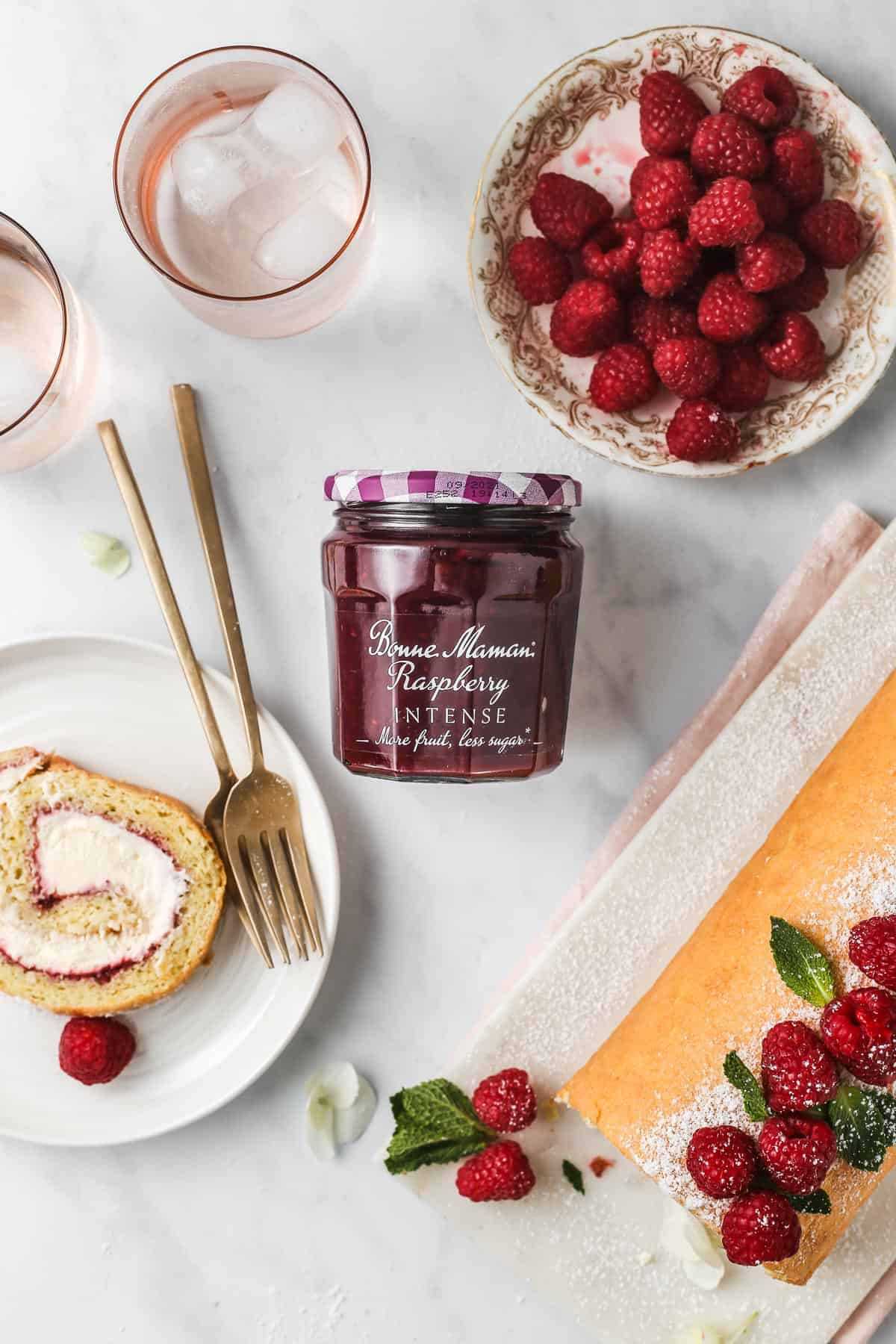 Bonne Maman Raspberry Intense Jam used as a filling in Swiss Roll