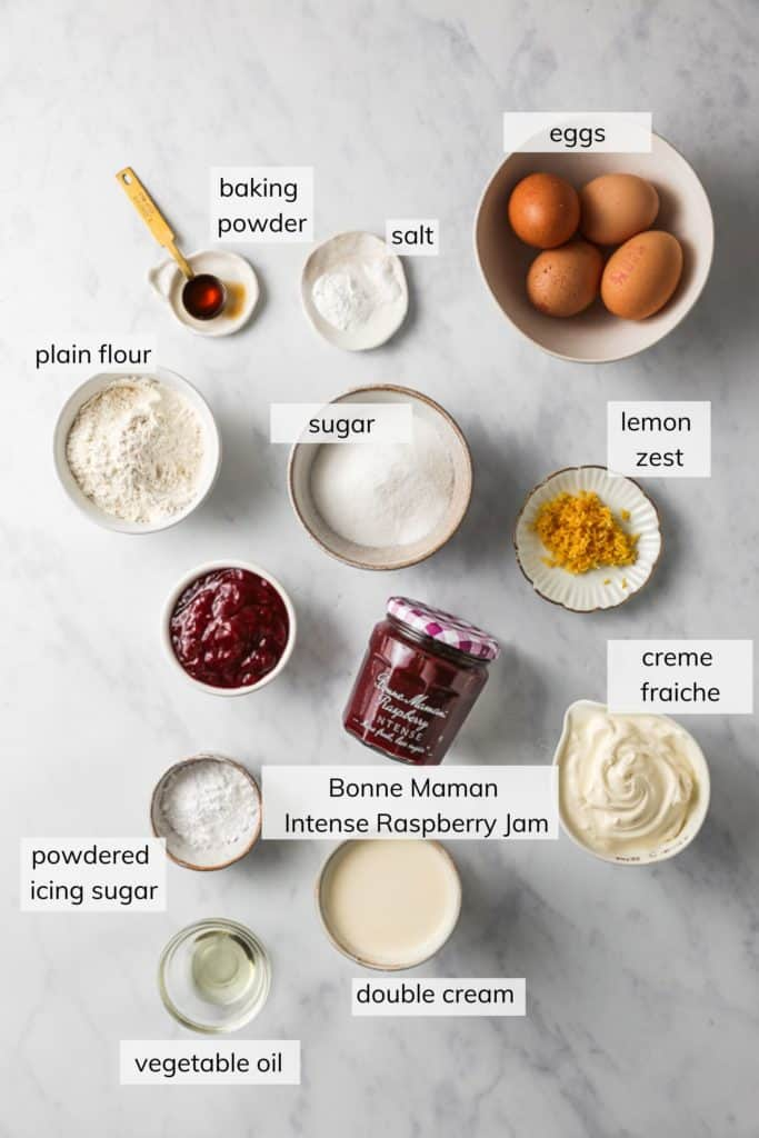 Ingredients for Raspberry Swiss Roll