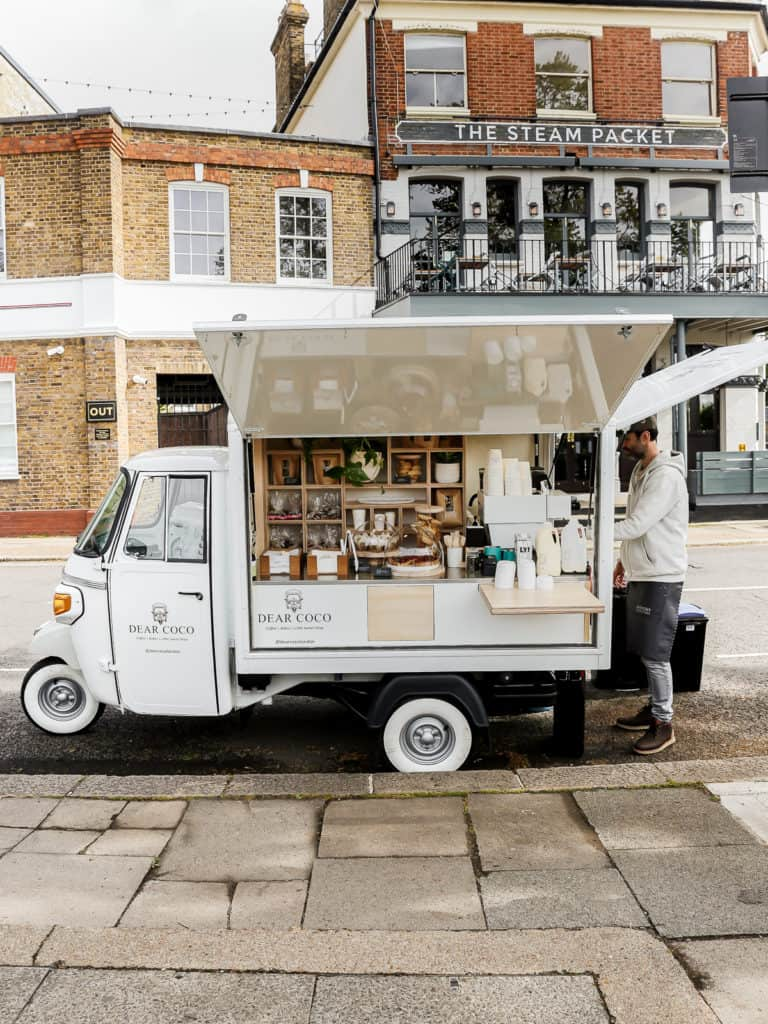 Converted vintage Piaggio Apé serving speciality coffee, bakes and sweets - called Dear Coco