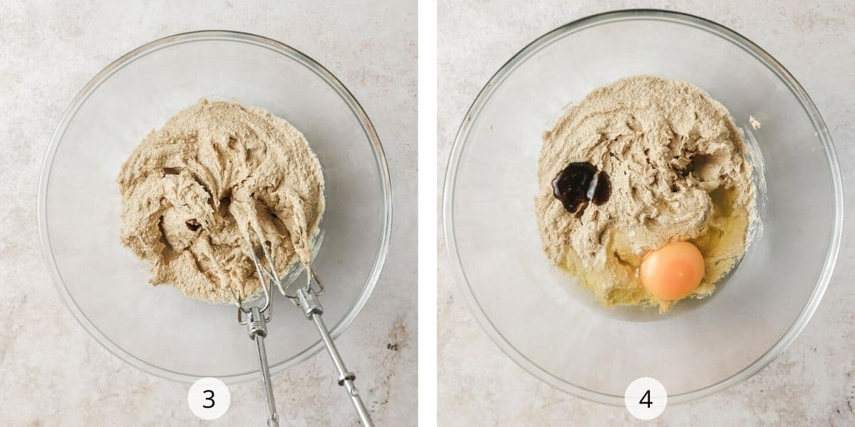 Mixing cookie dough in glass bowl