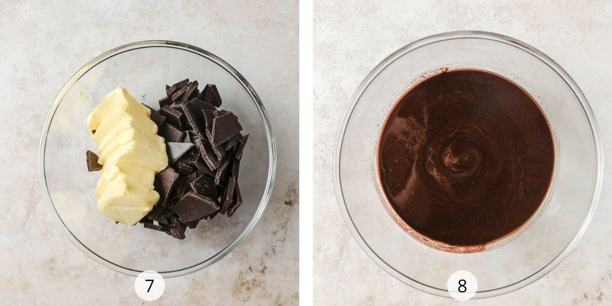 Melting dark chocolate and butter in glass bowl
