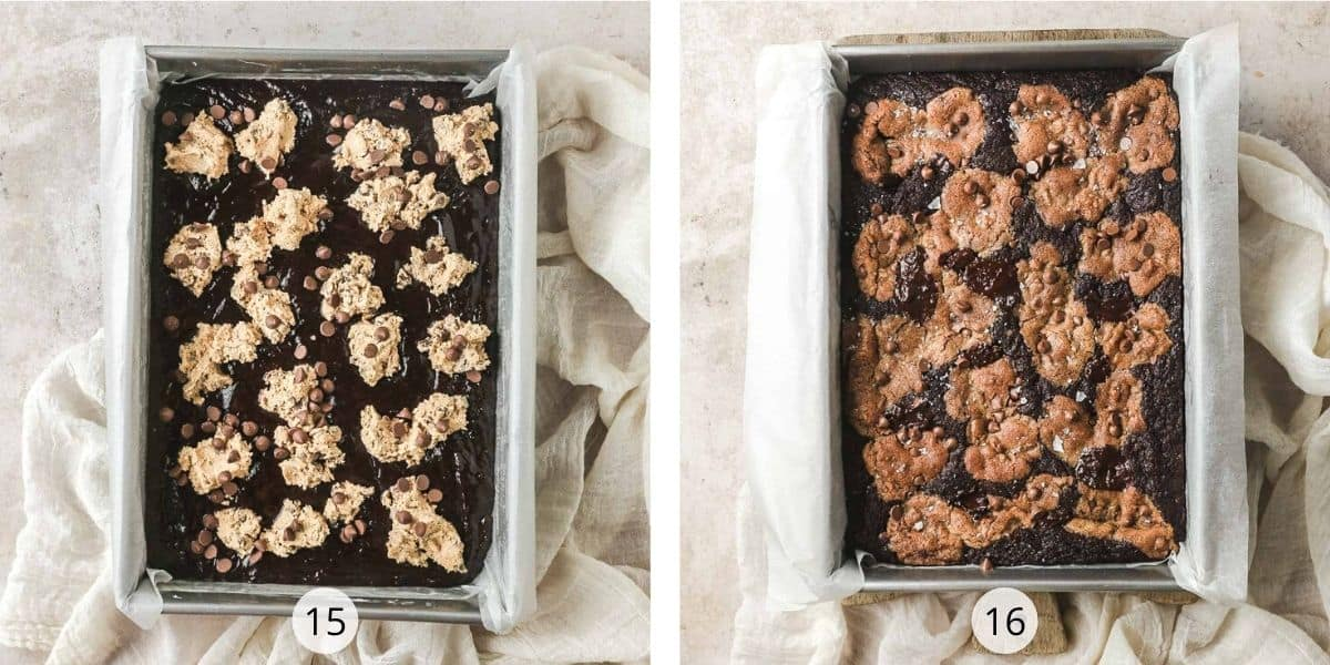 Before and after baking of chocolate chip cookie brownies