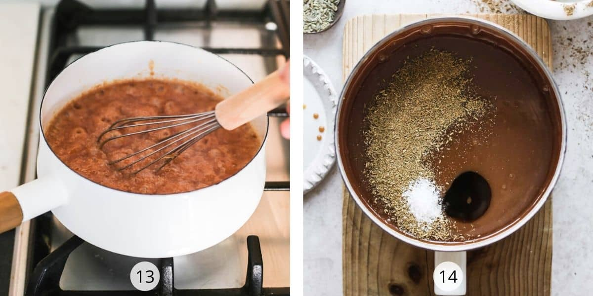 In a saucepan of caramel, add ground fennel, salt and vanilla extract for an intense flavour.