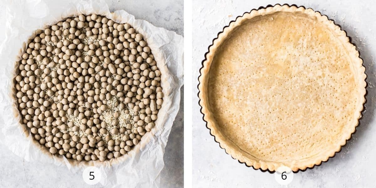 Filling the shortcrust pastry base with baking beans ready to blind bake.