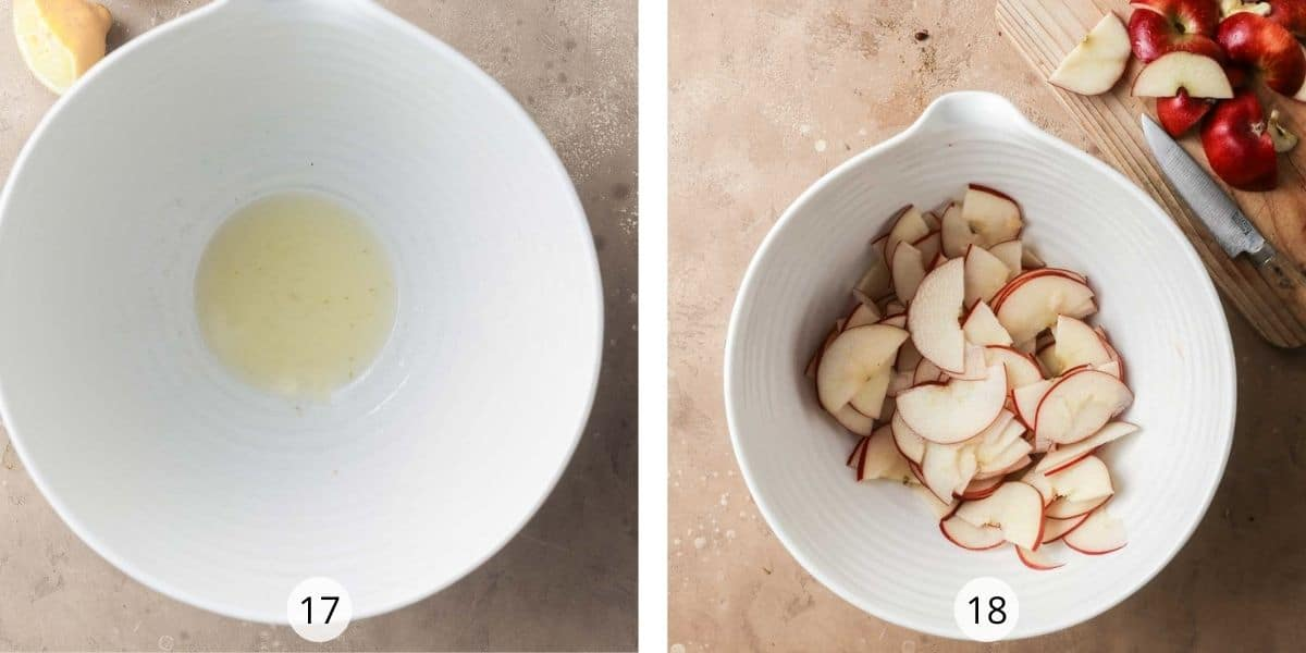 Sliced apples tossed in lemon juice to prevent them from browning.