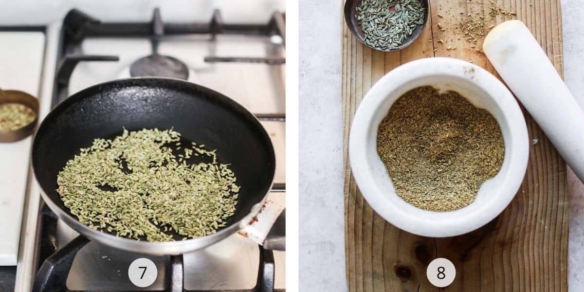 Toasting fennel seeds in a frypan and grinding them to a powder.